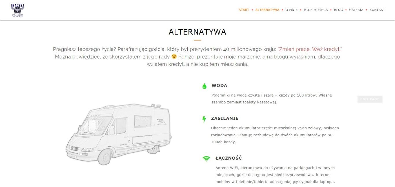Sekcja na stronie głównej projektu Inaczej, opisująca mojego kampera - Laika Ecovip 400.